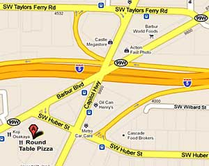 Map to Round Table Pizza on Barbur Blvd.