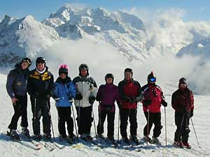 Mt. High ski club members in Val d'Isere, France, the Alps